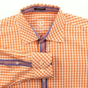 Bugatchi Uomo L/S Shirt Orange/White Checks Large